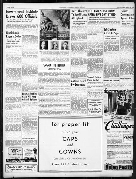 Daily Trojan, Vol. 31, No. 145, May 15, 1940