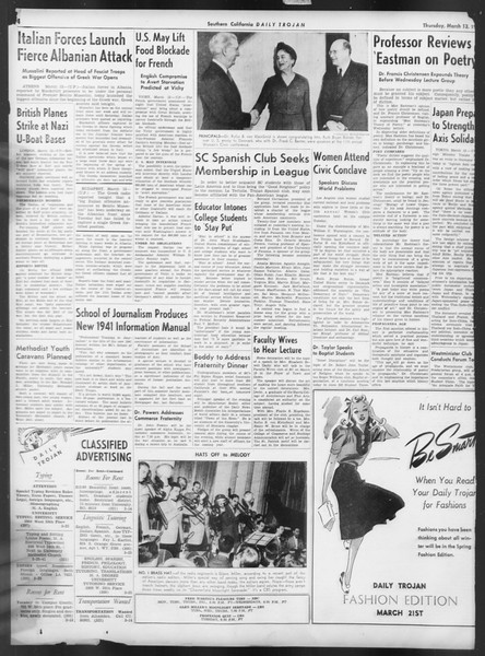 Daily Trojan, Vol. 32, No. 100, March 13, 1941