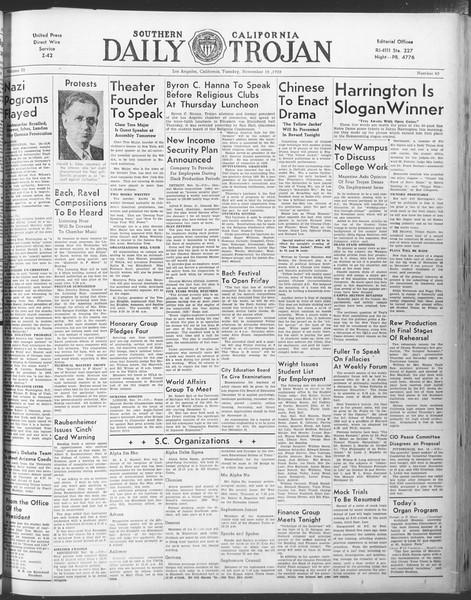 Daily Trojan, Vol. 30, No. 41, November 15, 1938