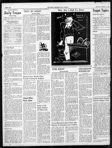 Daily Trojan, Vol. 31, No. 101, March 11, 1940