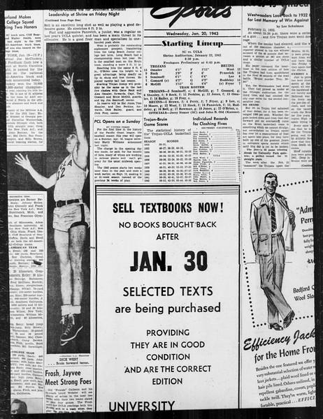 Daily Trojan, Vol. 34, No. 76, January 20, 1943