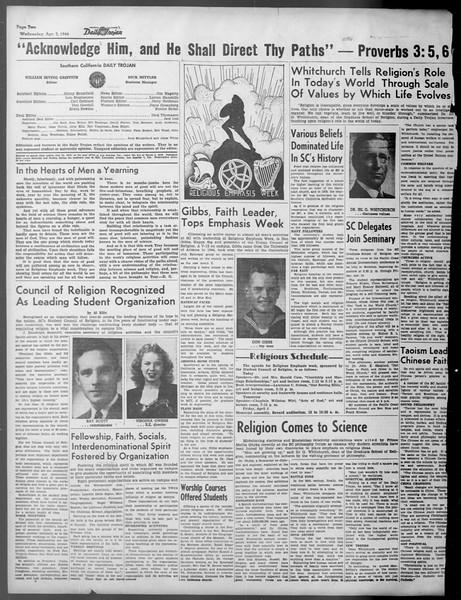 Daily Trojan, Vol. 37, No. 98, April 03, 1946