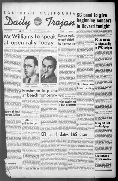 Daily Trojan, Vol. 36, No. 171, August 03, 1945