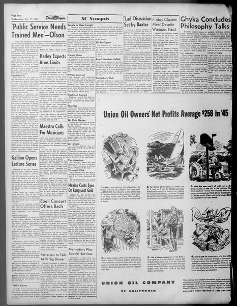 Daily Trojan, Vol. 37, No. 108, April 17, 1946