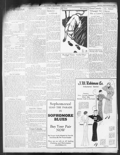 Daily Trojan, Vol. 24, No. 16, September 30, 1932