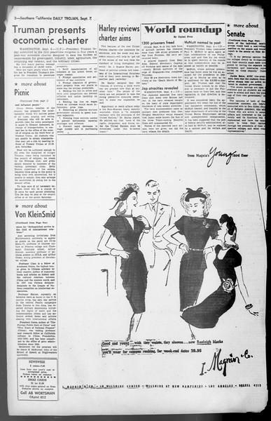 Daily Trojan, Vol. 36, No. 195, September 07, 1945