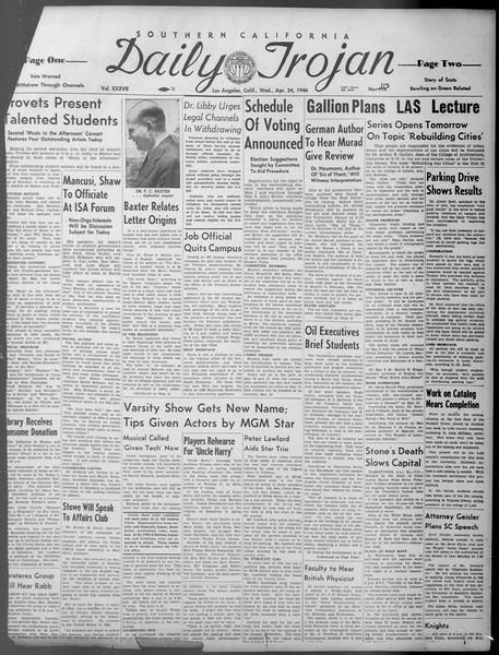 Daily Trojan, Vol. 37, No. 113, April 24, 1946