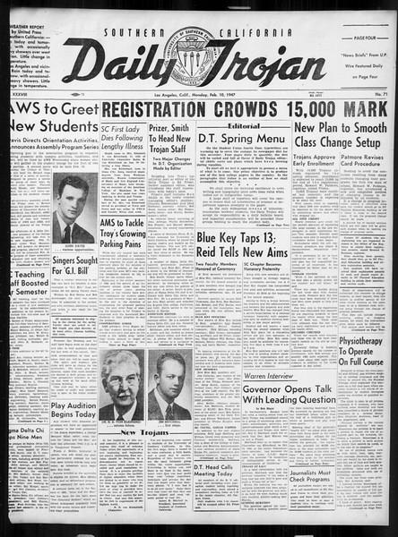 Daily Trojan, Vol. 38, No. 71, February 10, 1947