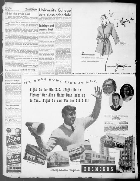 Daily Trojan, Vol. 37, No. 39, December 31, 1945