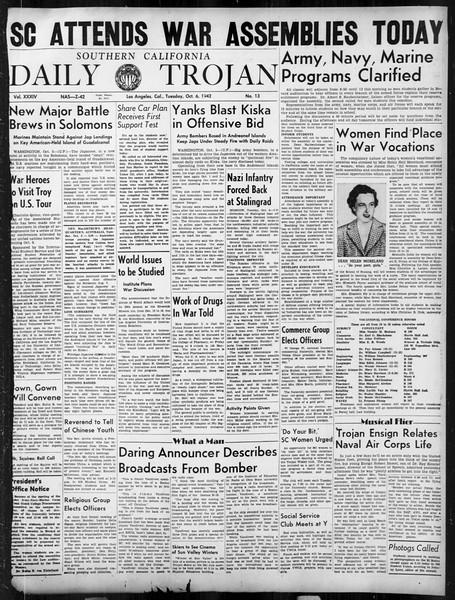 Daily Trojan, Vol. 34, No. 13, October 06, 1942