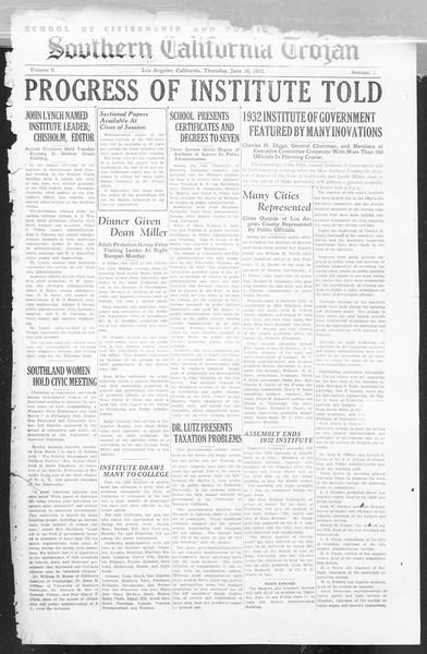 Southern California Trojan: School of Citizenship and Public Administration, Vol. 5, No. 1, June 16, 1932