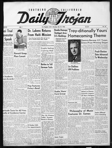 Daily Trojan, Vol. 38, No. 26, October 21, 1946