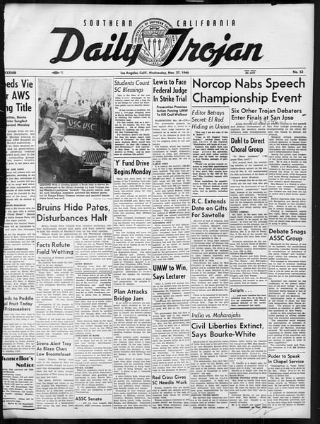 Daily Trojan, Vol. 38, No. 53, November 27, 1946