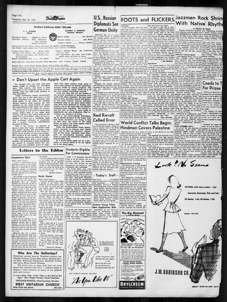 Daily Trojan, Vol. 38, No. 99, March 20, 1947