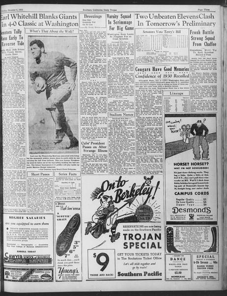 Daily Trojan, Vol. 25, No. 11, October 06, 1933