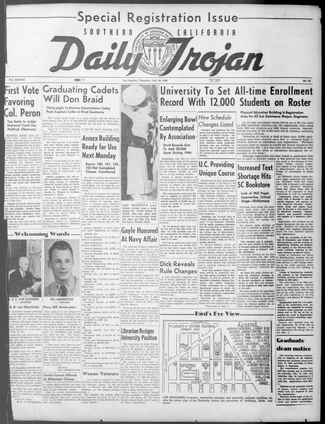 Daily Trojan, Vol. 37, No. 75, February 28, 1946
