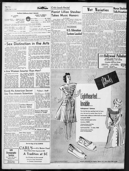 Daily Trojan, Vol. 38, No. 112, April 11, 1947