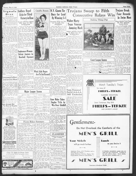 Daily Trojan, Vol. 24, No. 143, May 15, 1933