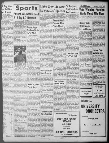 Daily Trojan, Vol. 37, No. 109, April 18, 1946