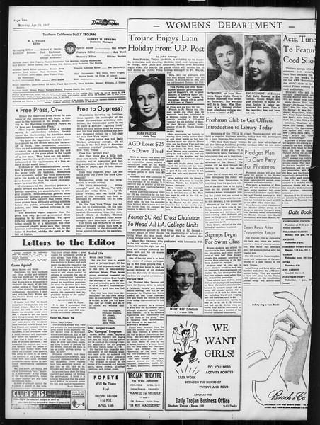 Daily Trojan, Vol. 38, No. 113, April 14, 1947