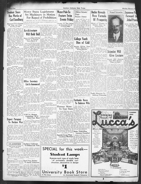 Daily Trojan, Vol. 24, No. 93, February 27, 1933