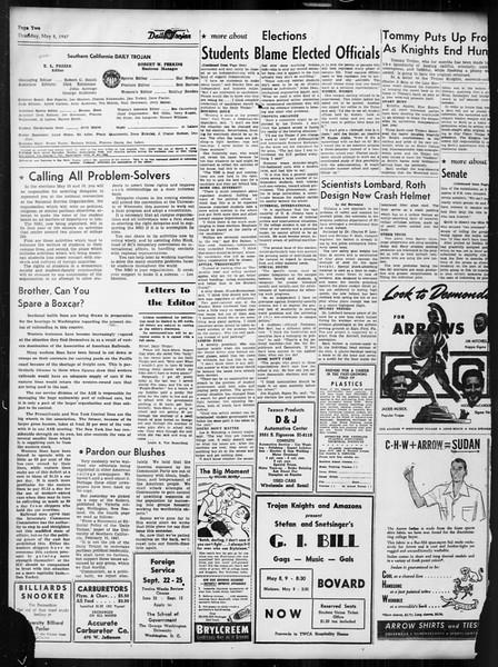 Daily Trojan, Vol. 38, No. 130, May 08, 1947