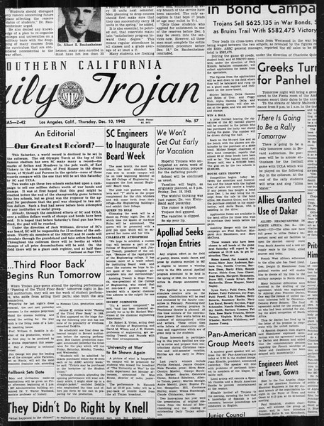 Daily Trojan, Vol. 34, No. 57, December 10, 1942