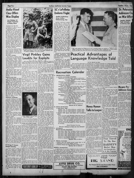Summer Trojan, Vol. 33, No. 9, July 21, 1942