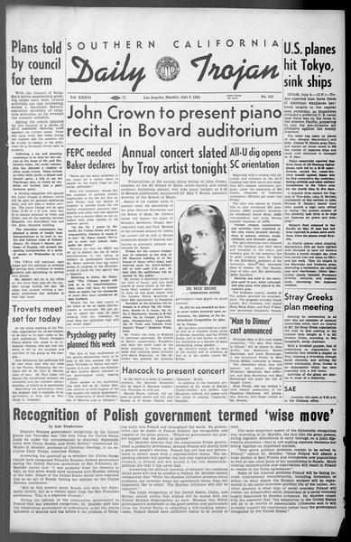 Daily Trojan, Vol. 36, No. 152, July 09, 1945