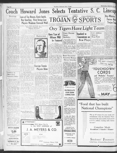 Daily Trojan, Vol. 25, No. 1, September 20, 1933
