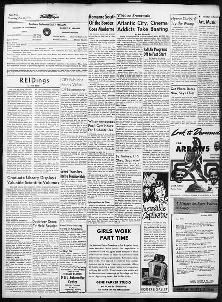 Daily Trojan, Vol. 38, No. 19, October 10, 1946