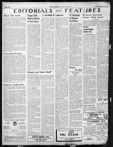 Daily Trojan, Vol. 34, No. 7, September 28, 1942