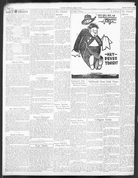 Daily Trojan, Vol. 24, No. 128, April 21, 1933
