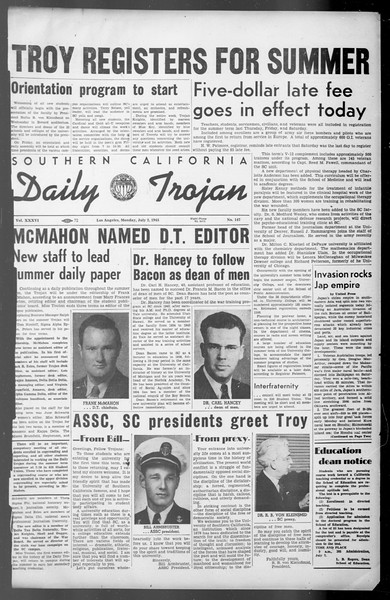 Daily Trojan, Vol. 36, No. 147, July 02, 1945