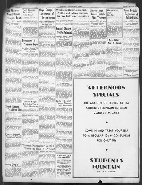 Daily Trojan, Vol. 24, No. 67, January 09, 1933