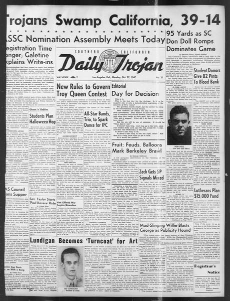 Daily Trojan, Vol. 39, No. 31, October 27, 1947
