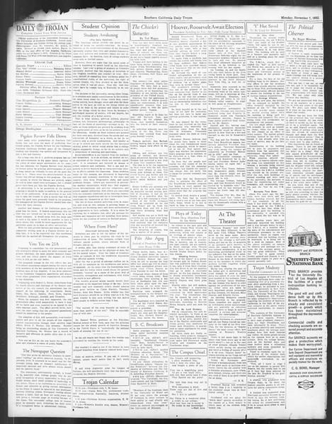 Daily Trojan, Vol. 24, No. 41, November 07, 1932