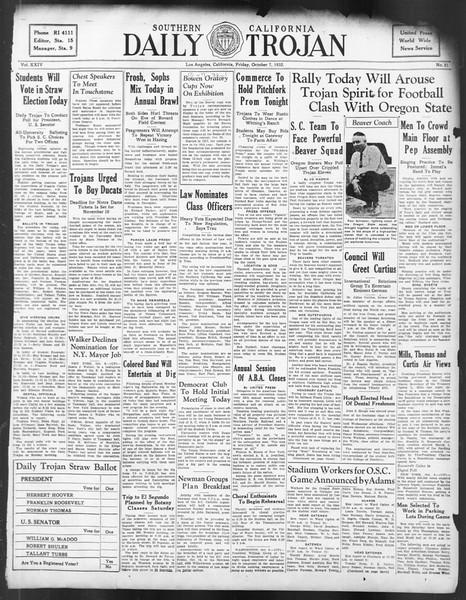 Daily Trojan, Vol. 24, No. 21, October 07, 1932