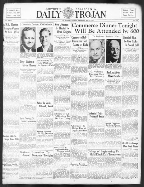 Daily Trojan, Vol. 24, No. 140, May 10, 1933