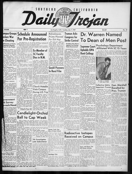 Daily Trojan, Vol. 38, No. 67, January 07, 1947