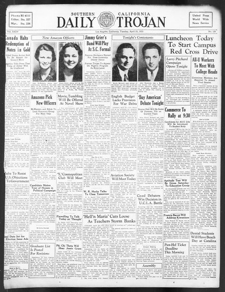 Daily Trojan, Vol. 24, No. 129, April 25, 1933