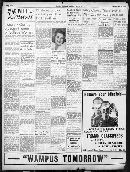 Daily Trojan, Vol. 34, No. 8, September 29, 1942