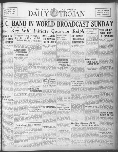 Daily Trojan, Vol. 23, No. 150, May 20, 1932