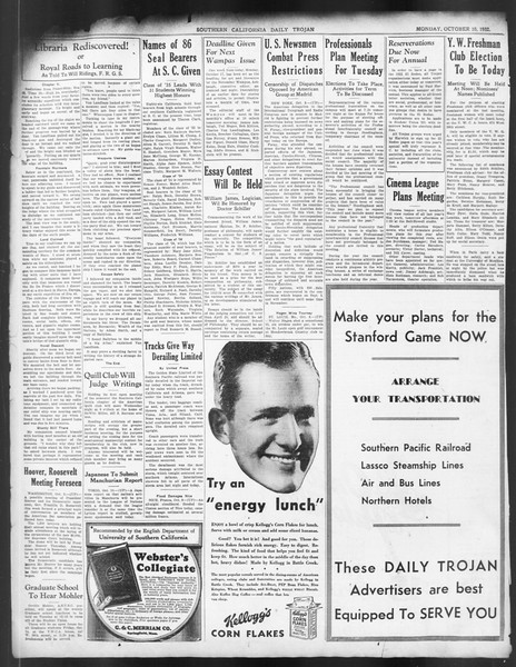 Daily Trojan, Vol. 24, No. 22, October 10, 1932