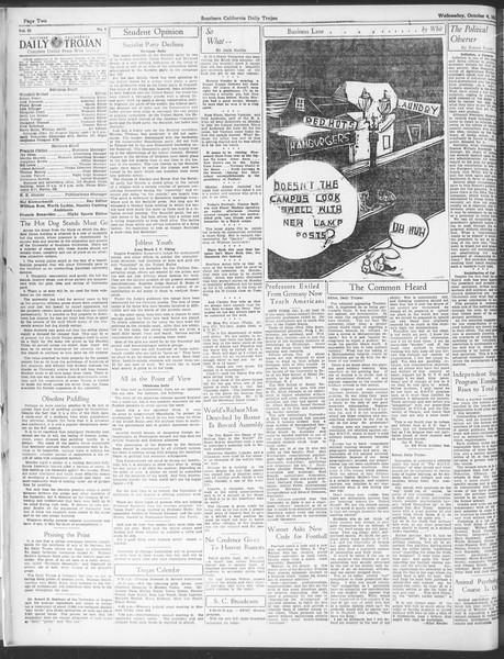 Daily Trojan, Vol. 25, No. 9, October 04, 1933