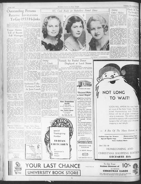 Daily Trojan, Vol. 25, No. 47, November 28, 1933