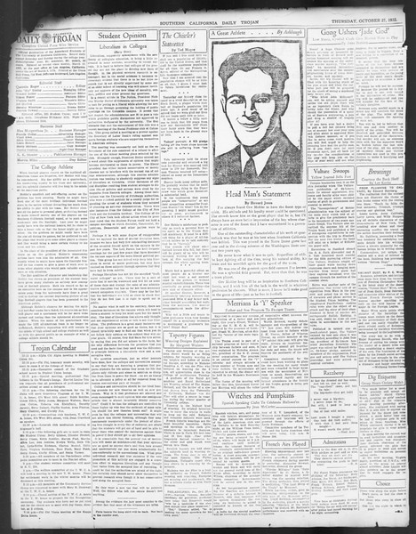 Daily Trojan, Vol. 24, No. 34, October 27, 1932
