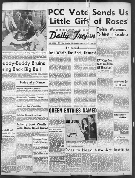 Daily Trojan, Vol. 39, No. 51, November 25, 1947
