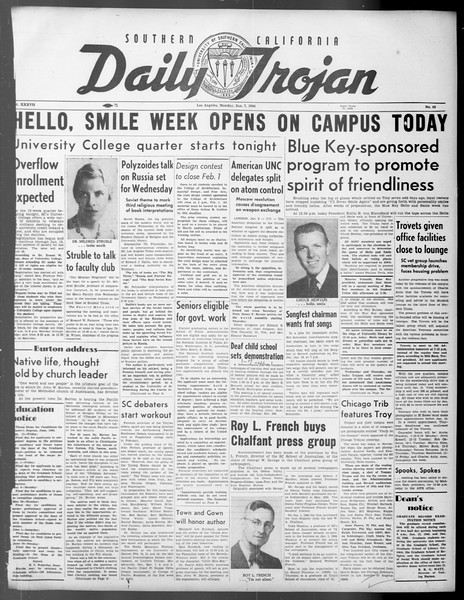 Daily Trojan, Vol. 37, No. 43, January 07, 1946