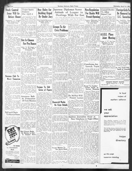 Daily Trojan, Vol. 24, No. 116, March 29, 1933